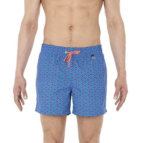HOM Herren Bora Beach Boxer Badeshorts, Blau (Micro Motif Géométrique, Marine, Bleu, Orange Et Rose 00bi), Medium