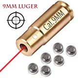 Gogoku Bore Sight 9mm Cartridge Hunting Red Laser Boresighter with 3 Sets of Batteries