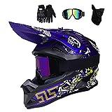 Azul/Cráneo - Casco de Motocross Hombre con Gafas (4 Pcs) Casco Enduro Adulto con Forro Extraíble, Pro Casco MTB Integral Cross Protecciones Moto para MX Quad Descenso Enduro Motocicleta,L