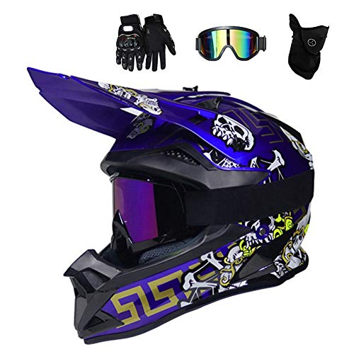 Azul/Cráneo - Casco de Motocross Hombre con Gafas (4 Pcs) Casco Enduro Adulto con Forro Extraíble, Pro Casco MTB Integral Cross Protecciones Moto para MX Quad Descenso Enduro Motocicleta