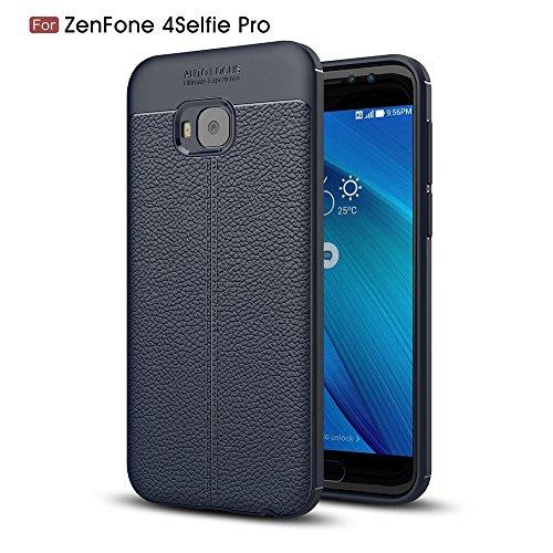 Capa para Asus Zenfone 4 Selfie Pro ZD552KL com estampa Litchi e capa traseira ultrafina TPU marinho