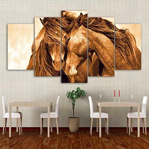 HFYSB Quadro 5 Pezzi Stampa su Tela in TNT XXL Animali di cavalli Componibili Quadri Moderni Camera da Letto Stampa Quadro su Tela 5 Pezzi Quadri Grandi Arte Muraria 150X80 Cm