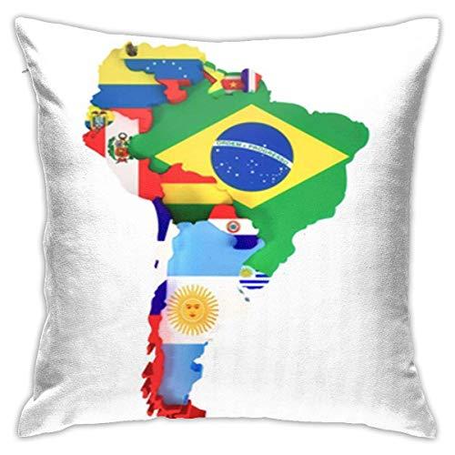 Caonm Kissenbezüge 45x45cm Kissenbezüge Bunte lateinamerikanische Südamerika-Karte Länder und Hauptstädte