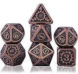Schleuder Metal Poliédricos Juego de Dados de rol, Dice Set Zinc Aleación Juegos de rol para Dragones y Mazmorras Juego de Mesa RPG DND Dice Gaming D&D (Barrel Copper Plating)