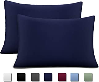 Bedding Standard Size Pillowcases 20x26 Inch, Cok 2PCS Blue Pillow Cases Standard Only, Premium Quality Microfiber Soft and Breathable Pillow Protector with Envelop Closure, Cooling and Comfortable.