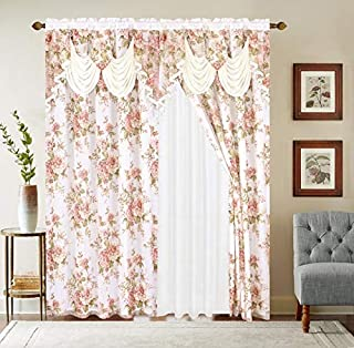 Sapphire Home Window Curtain Panel Set 84 Inch Length w Attached Valance + Solid Sheer Backing + 2 Tassels - Rod Pocket 84