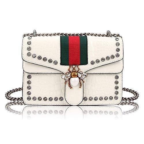 Meeto Designer Shoulder Bag for Women, Fashion Bee Crossbody Bag Handbags with Chain,Evening Bag,Cross-body Bag for Women Ladies Girls of 2019 Newest (White)