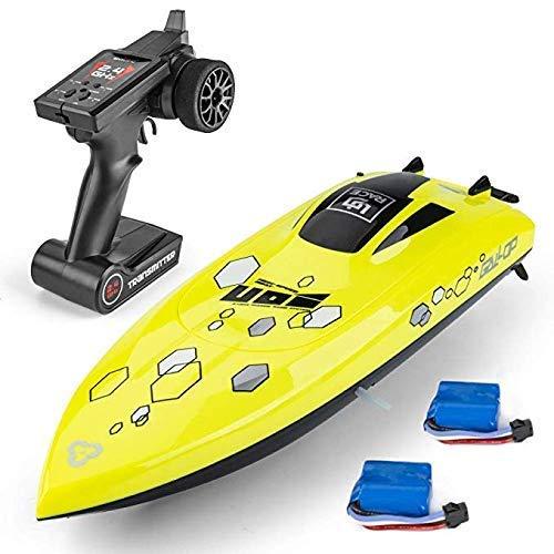 NBVCX Sport im Freien Fernbedienungsboot Fernbedienungsboot für Pools und Seen 2,4-GHz-Funksteuerung Selbstaufrichtende Fernbedienung Elektrische Spielzeugboote Gelb