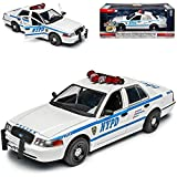Ford Crown Victoria Police Polizei New York NYPD Weiss Blau 2. Generation 1997-2011 1/24 Greenlight Modell Auto