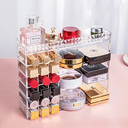 Kcakek Multi-opbergdoos cosmetische parfum opmaker plank hiërarchische tabel opbergdoos cosmetica eenvoudige commode stof opbergdoos transparante cosmetische opbergdoos