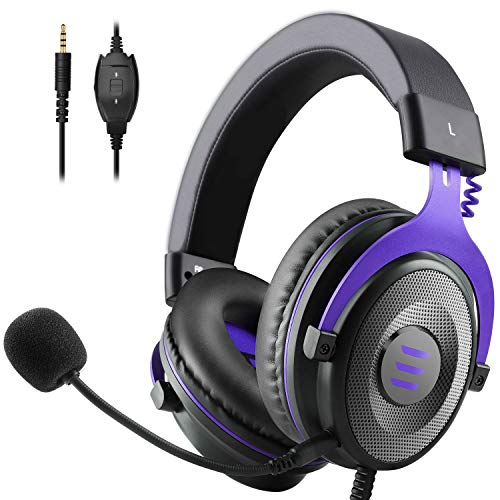 Auriculares gamer PS4 EKSA E900 Gaming Switch auriculares Gamer PC auriculares con micrófono con clavija de 3, 5 mm para PS4 Xbox Switch PC Tablet Smartphone (morado)