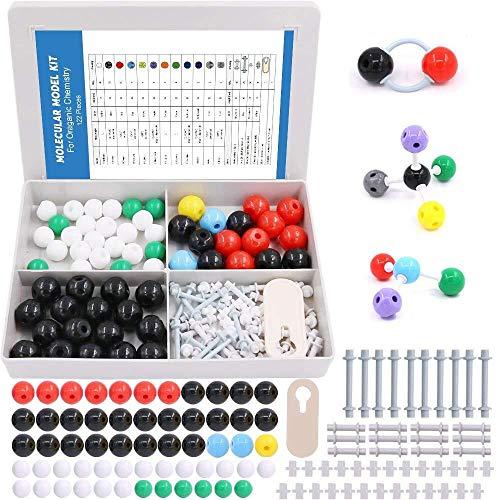 Swpeet 122 Pcs Organic Chemistry Molecular Model Student and Teacher Kit, Molecular Model Set for Inorganic & Organic Chemistry - 59 Atoms & 62 Links & 1 Short Link Remover Tool