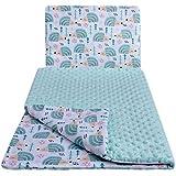 Babydecke Krabbeldecke mit Kissen 100% Baumwolle MINKY Kinderdecke 55x75 + 35x30cm multifunktional für Kinderwagen Babyschale Wiege Medi Partners (minze Igel mit minzer Minky)