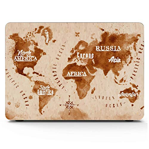Mac Book Pro Covers Printed Cartoon World Map Decor Icon Mac Pro Cover Hard Shell Mac Air 11'/13' Pro 13'/15'/16' with Notebook Sleeve Bag for MacBook 2008-2020 Version