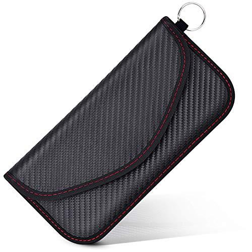 Funda Faraday Móvil para Teléfono y Llave Coche, Bolsa Faraday Bloqueador Jaula Faraday Portatil, Bolsa Blindaje Senal RFID Proteger Privacidad Móvil (Fibra de Carbono)