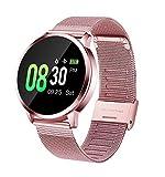 RanGuo Bluetooth Smartwatch für Herren Damen Kinder, Outdoor Sports Intelligente Armbanduhr für Android und ios System, Support-Anruferinnerung und Nachrichtenerinnerung (Stahlband, Rosa)