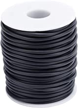 Pandahall 54.68 Yards/Roll 2mm Hollow Pipe Tubuing Rubber Cord with 1mm Hole Solid Rubber Tube Cord with Plasic Spool (Black)