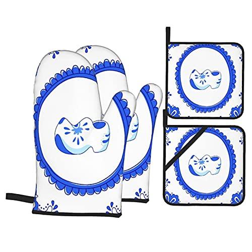 Juego de 4 Manoplas y Porta ollas para Horno,Azulejo Azul con un par de Zapatos típic, Guantes para Hornear Resistentes al Calor Antideslizantes para Cocina, BBQ