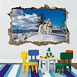 Husky Hund Winter Schnee 3D Smashing Wandkunst Aufkleber Kinder Schlafzimmer...