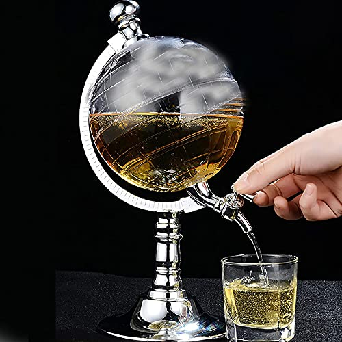 NBVNBV Decantador De 1,5 L, Dispensador De Decantador De Globo,Juego De Decantador De Whisky Transparente De 1,5 L, Dispensador De Globo, Dispensador De Vino De Licor De Vidrio Antiguo