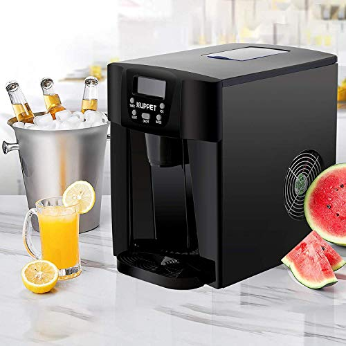 KUPPET 2 in 1 Countertop Ice Maker Water Dispenser, Ready in 6min, Produces 36 lbs Ice in 24 Hours, LED Display (Black)