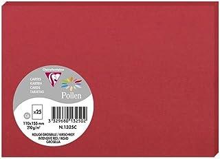 Clairefontaine 1325C - Un paquet de 25 cartes Pollen 11x15,5 cm 210g, Rouge groseille