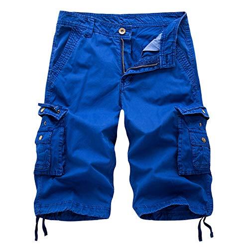 Pantalones cortos para hombre de ajuste relajado, pantalones cortos de carga informales de combate de verano con múltiples bolsillos, cierre de cremallera, duradero para ropa de trabajo