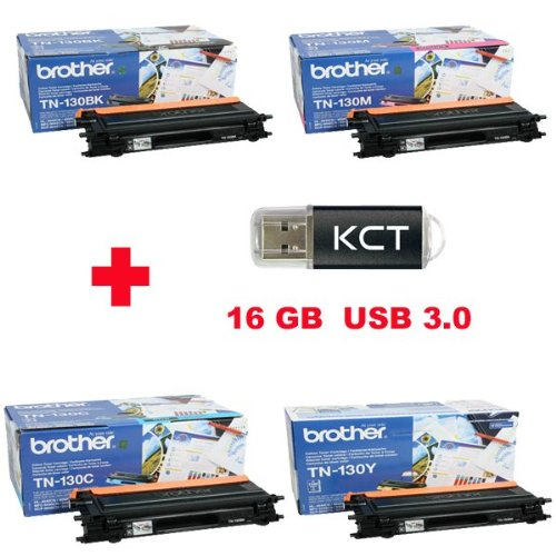 Brother HL-4040CN Tonerkit (TN-130) TN-130BK/TN-130C/TN130-Y/TN-130M + 16GB KCT USB-Stick USB 3.0
