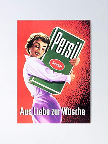 """Persil for The Love of Washing Detergent Laundry Soap Retro German Advert Poster 12.75"""" X 17"""" Inch No Frame Board Office Decor, Best Gift Dad Mom Grandmother and Your Friends"""