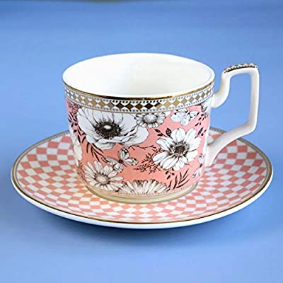 ACOOME Tea Cup with Saucer Set 9oz Vintage Flowers and Butterflies Tea Cup Coffee Cup, Mug Teatime Perfect for Your Tea Pot (Pink)