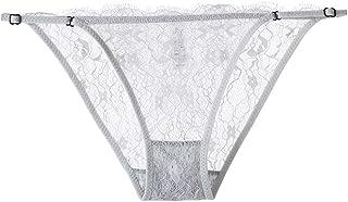 HTRUIYATY Damskie majtki z koronką, półprzezroczyste bikini z koronką, regulowana, niska talia, stringi G, hipsterskie