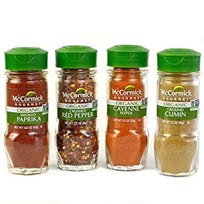 McCormick Gourmet Organic Red Peppers & Cumin Everyday Basics Variety Pack (Smoked Paprika, Crushed Red Pepper, Cayenne Pepper, Ground Cumin), 0.05 lb