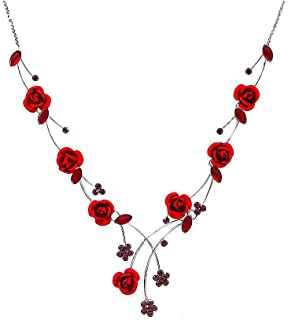 Elegant Rose Necklace with Red Austrian Element Crystals and Crystal Glass (500)