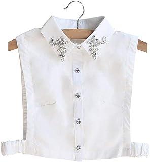 YiyiLai オシャレ 付け襟 レディース 角襟 ブラウス ホワイト シャツ 偽襟 ジルコニア 重ね着 コットン