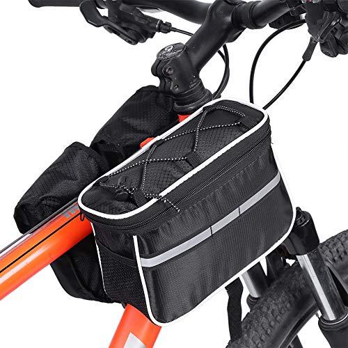 Yagosodee Bolsa de Marco de Bicicleta Bolsa de Almacenamiento de Tubo Delantero Superior Bolsa de Bicicleta con Cubierta de Lluvia Accesorios de Ciclismo para Hombres (Negro)