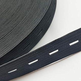 LINL Tiras helicoidales Planas 5yards elásticas de Cinta Cuerda Costura elástica w/Ojales 3 formatos,20 mm 5Y Negro
