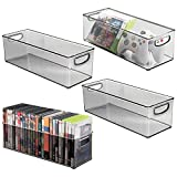 mDesign Plastic Stackable Household Storage Organizer Container Bin with Handles - for Media Consoles, Closets, Cabinets - Holds DVD's, Video Games, Gaming Accessories, Head Sets - 4 Pack - Smoke Gray