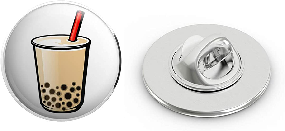 BRK Studio Cute Simple Milk Tea Boba Cartoon Emoji Art Round Metal 0.75