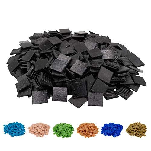 Mosaik-Profis Mosaiksteine versch. Farben (2x2 cm, 900g, ca. 340 St.) - buntes Mosaik ideal zum Basteln - Glasmosaik - keine Kunststoffverpackung (Schwarz 2)