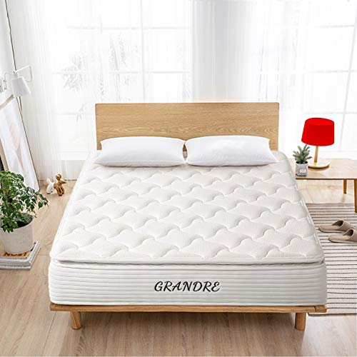 Grandre 12 Inch Queen Gel Memory Foam and Spring Hybrid Mattress Bamboo Pillow Top - Bed in a Box - Medium Firm - White