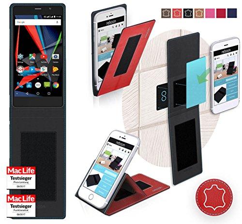reboon Hülle für Archos 55 Diamond Selfie Lite Tasche Cover Case Bumper | Rot Leder | Testsieger