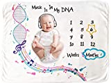Baby Monthly Milestone Blanket for Boy or Girl - Music Design - Size 50 x 40 Inch