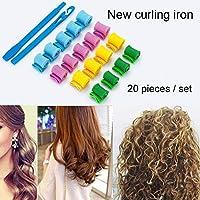 20ピースヘアカーラーいいえ熱diyヘアカーラー柔らかいヘアカーラー用の長いまたは短い髪用形状簡単に使用して髪を傷つけないで