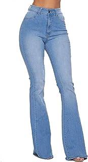 SOHO GLAM High Waisted Stretchy Elastic Bell Bottom Jeans Women Denim Pant S-3XL
