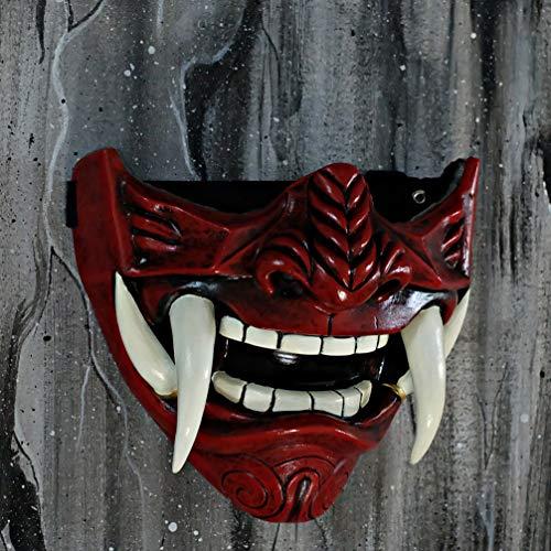 Samurai Oni Mask for Paintball Airsoft Gun Halloween Costume Ninja Cosplay Bushido Armor Sword Motorcycle Helmet D500