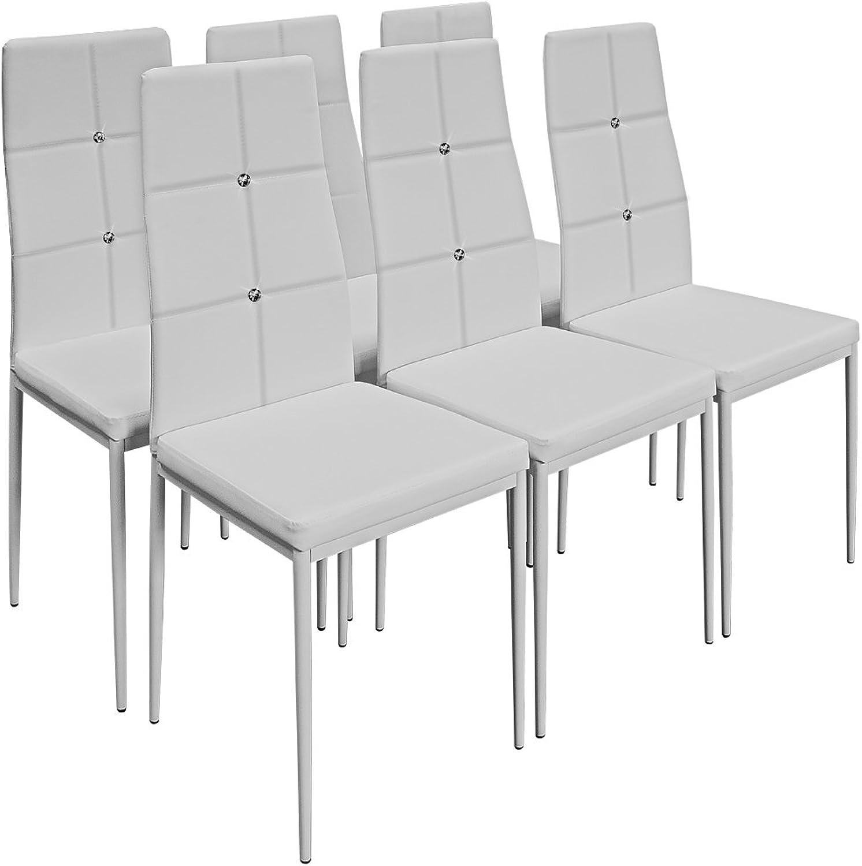 Deuba 6X Esszimmerstühle Stuhl Hochlehner Polsterstuhl Sitzgruppe Essgruppe Esszimmerstuhl wei