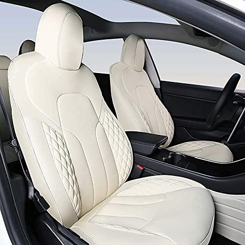 ZWMBAOR Coprisedile Auto,per Tesla Model X 5 Posti Comodo Cuscino per Veicolo Completamente Avvolgente,Compatibile con Airbag,Traspirante Senza Odore,per Accessori Interni Auto,Beige