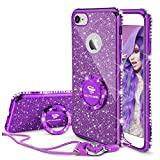 Cute iPhone 6s Case, Cute iPhone 6 Case, Glitter Luxury Bling Diamond Rhinestone Bumper with Ring Grip Kickstand Protective Thin Girly iPhone 6s Case/iPhone 6 Case for Women Girl - Purple