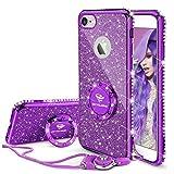 OCYCLONE iPhone 6s Plus Case, Cute iPhone 6 Plus Case, Glitter Luxury Bling Diamond Rhinestone Bumper with Ring Grip Kickstand Protective Thin Girly iPhone 6s Plus/ 6 Plus Case for Women Girl - Purple