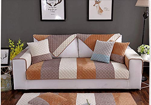 Ginsenget Funda sofá 1 2 3 4 Funda Antideslizante Asiento Sofá Protector sofá Tela (Varios tamaños),Toalla de Felpa para Respaldo de sofá,Color café,70X120cm
